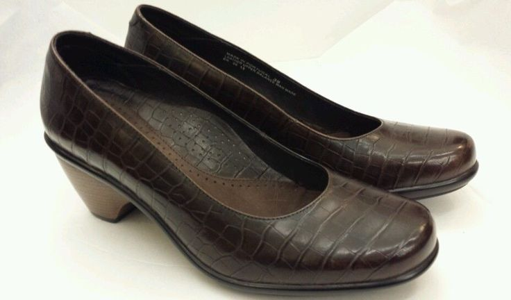 "Dansko dark brown alligator look leather Euro sz 39 2 1/2"" heel ladies shoe #Dansko #PlatformsWedges #WeartoWork"