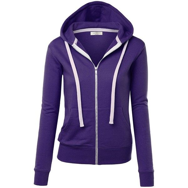 MBJ Womens Active Soft Zip Up Fleece Hoodie Sweater Jacket ($20) ❤ liked on Polyvore featuring tops, hoodies, fleece tops, blue hoodie, hooded fleece pullover, fleece hooded sweatshirt and blue top