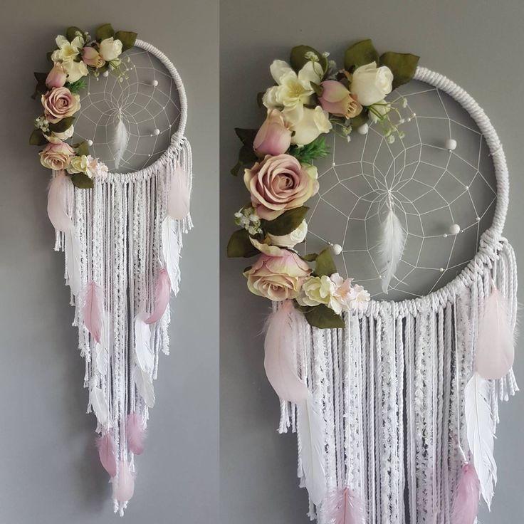 Pink girly dreamcatcher, dream catchers, boho decor, floral dreamcatcher, flower dreamcatcher, pink roses, pink florals, baby shower