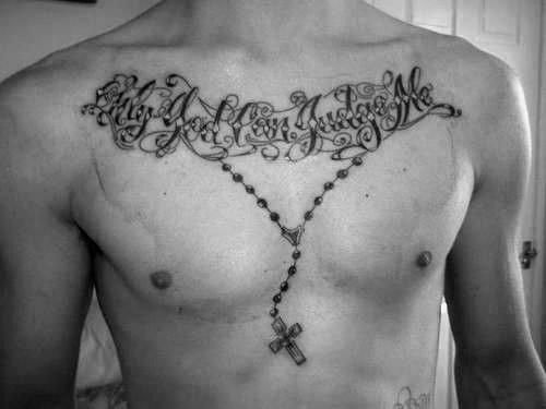 Rosary Chest Tattoos For Men