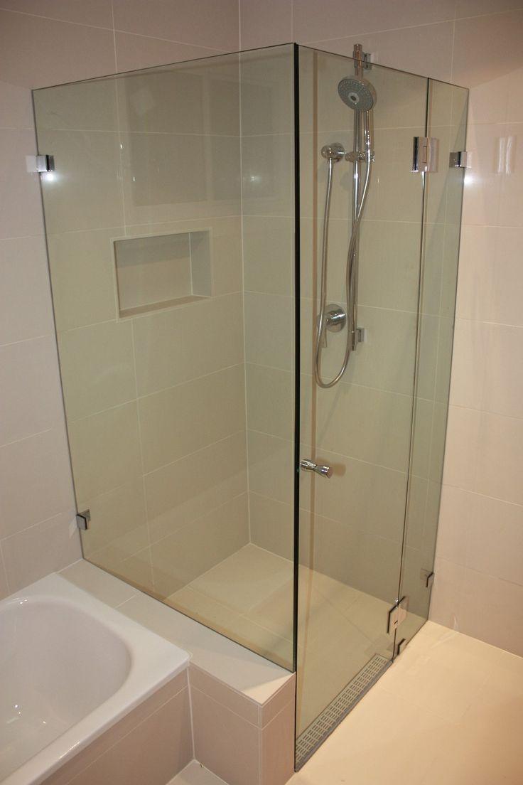 White Bathroom Co Willoughby custom made frameless hinged shower screen