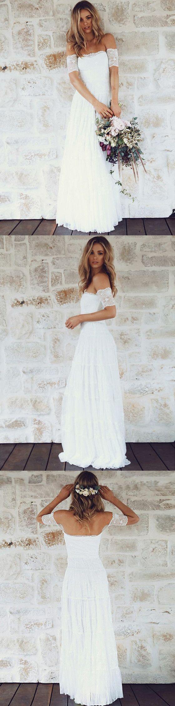 A-Line Modern Floor-length Off-the-Shoulder Short Sleeves Lace Beach Wedding Dress, WD0329