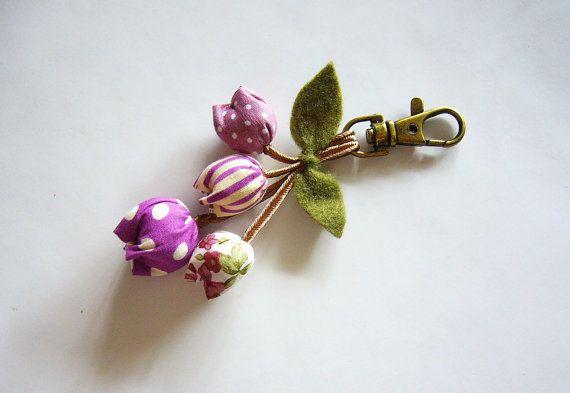 Handmade Keychain Tulip Keychain key fob flower от BlueTembo