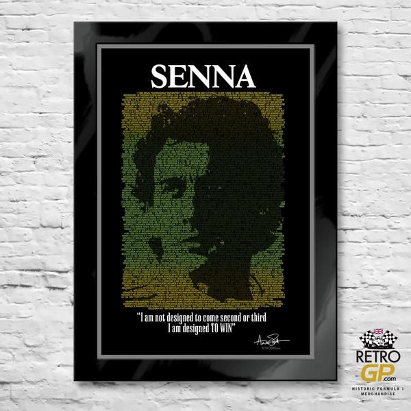 Senna - His life in Formula 1  This spectacular print is a tribute to the Formula 1 career of Ayrton Senna. The Typographic design incorporates details of every race in which Senna competed, in chronological order. Each statistic includes: Race number, year, country, team car number, car model, which tyres the team were using, Senna's finishing position and even the reason for a DNF.     http://bit.ly/Senna_Print