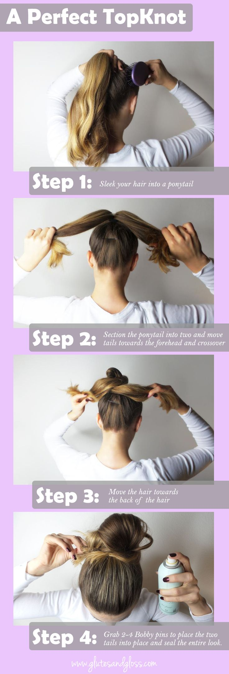 A Perfect TopKnot tutorial.  here's what you will need: http://www.glutesandgloss.com/beauty/a-perfect-topknot/ #glutesandgloss #beauty #hair #tutorial #topknot