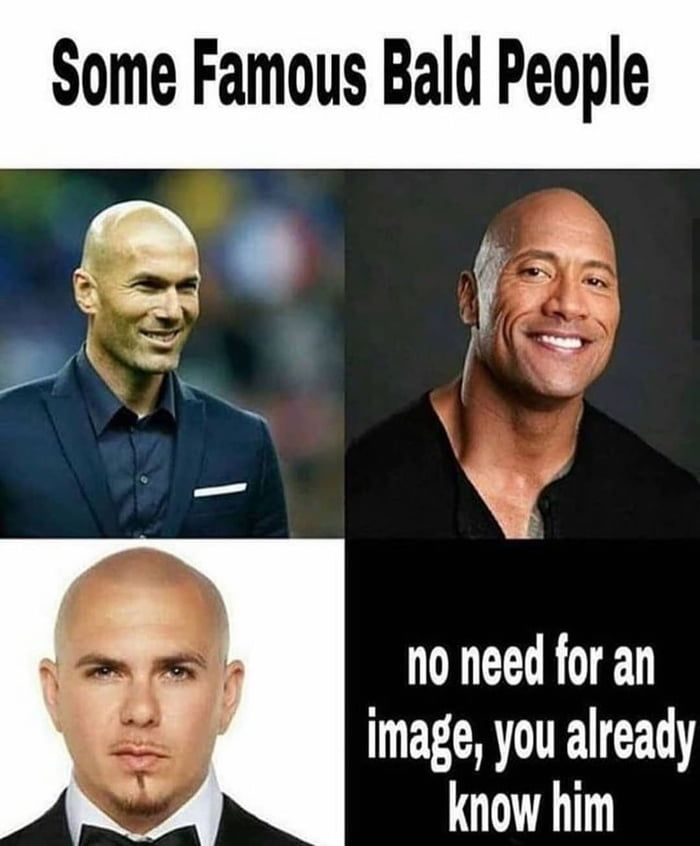 Hairy People Are Just Bald People With Hair In 2021 Famous Bald People Funny Pictures Best Funny Pictures