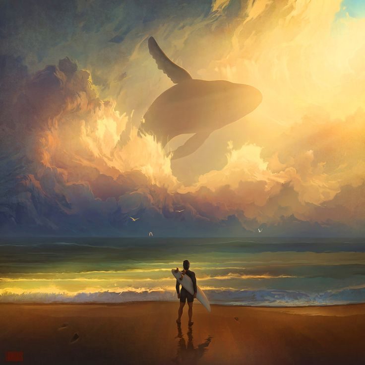 Dreamy Digital Paintings of Whales Flying Across the Sky by Artem Chebokha (Waiting For The Wave)