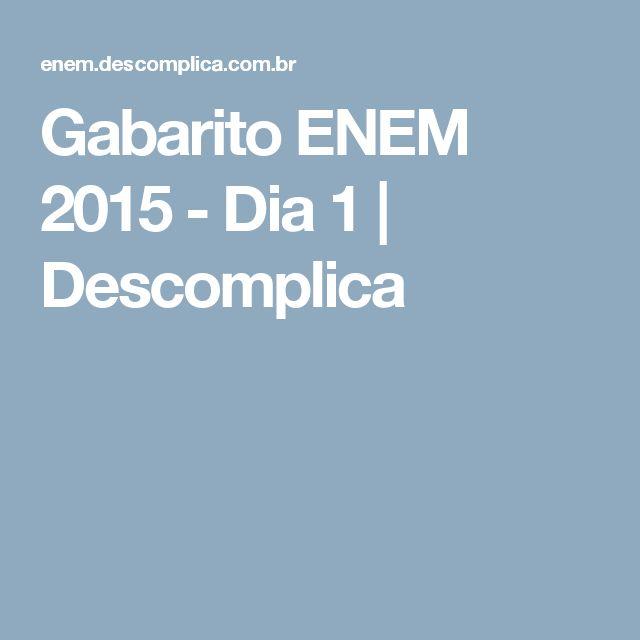 Gabarito ENEM 2015 - Dia 1 | Descomplica