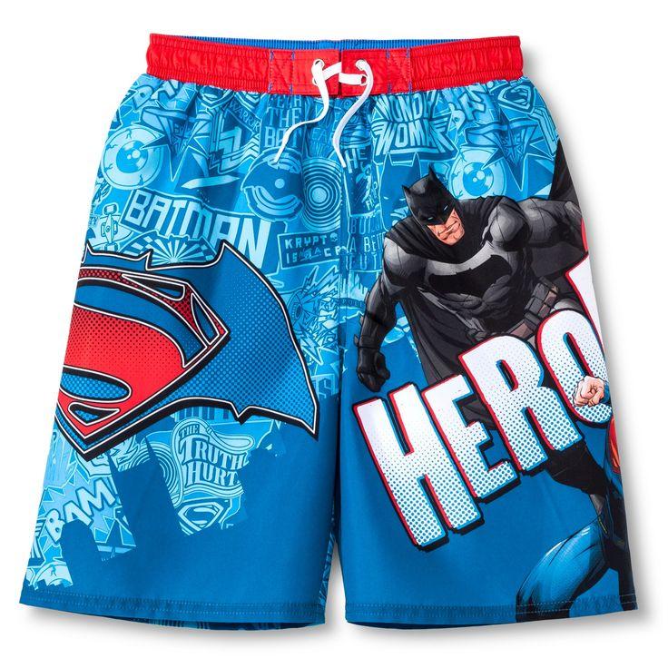 Boys' Batman vs. Superman Swim Trunk - XS, Multicolored