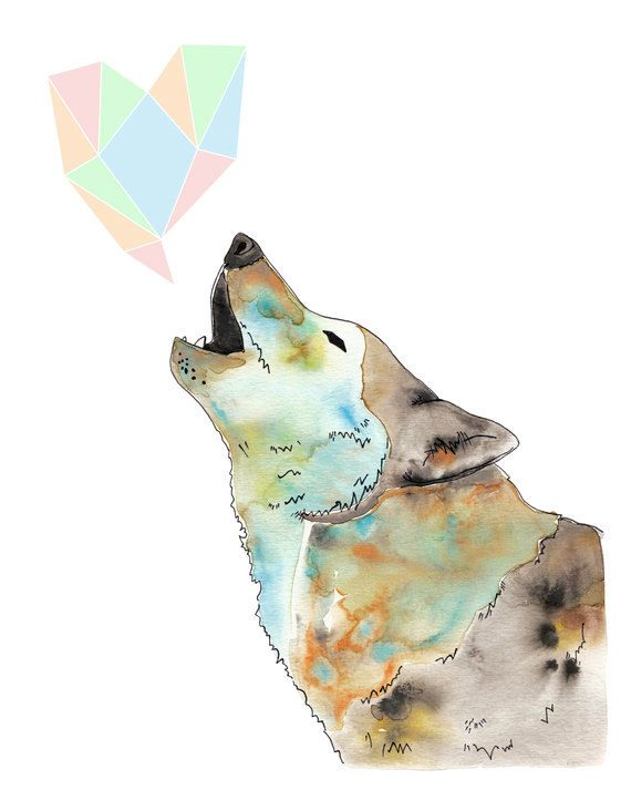 Howling Wolf Watercolour art print blue with pastel ...