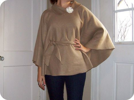DIY no sew fleece poncho tutorial. A good Snuggie alternative for cold nights...