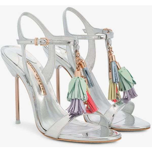 Sophia Webster Layla tassel embellished sandals ($320) ❤ liked on Polyvore featuring shoes, sandals, metallic, strappy leather sandals, tassel sandals, leather shoes, leather sandals and high heel shoes