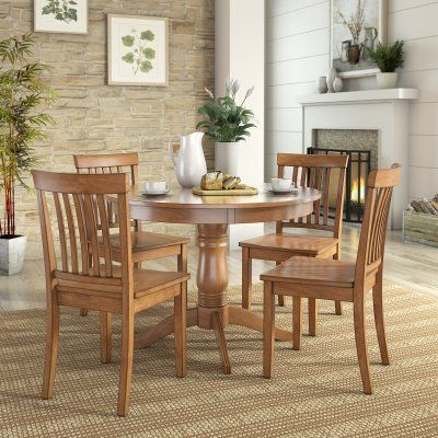 Weston Home Lexington 5 Piece Round Dining Table Set with Mission Back Chairs - 68E55742AKC3AK