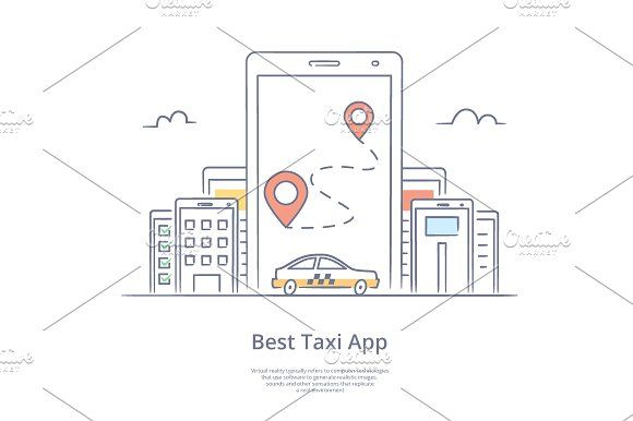 Mobile app for ordering taxi, by Artur Stotch on @creativemarket