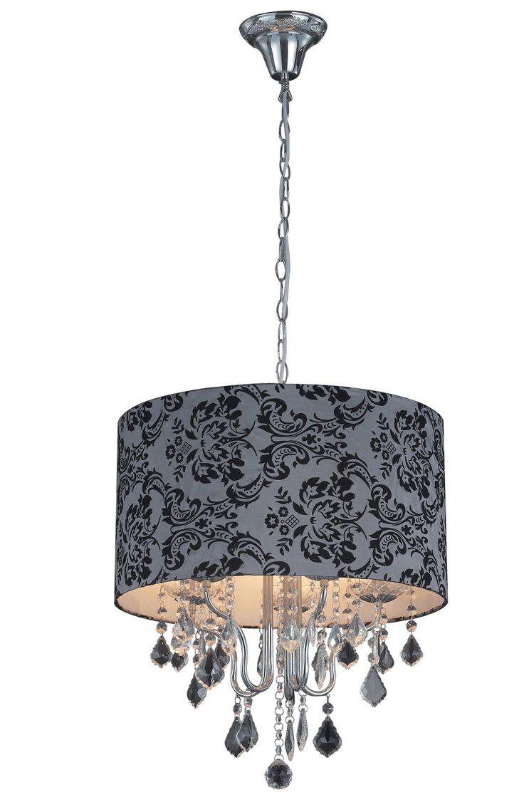 Подвесная люстра Rosentale - 6 160 руб.. Эта стильная подвесная люстра гармонично дополнит любой интерьер и создаст уютную обстановку в помещении. Серый тканевый абажур украшен элегантным растительным орнаментом черного цвета и хрустальными серебристыми подвесками.