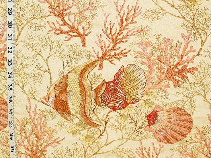 Angelfish fabric upholstery seashell coral ocean reef- destash from Brick House Fabric: Novelty FabricHouse Fabrics, Coral Fabrics, Fabrics Upholstery, Angelfish Fabrics, Chairs Fabrics, Fabrics Angels, Novelty Fabrics, Fabrics Fish, Angelfish Upholstery