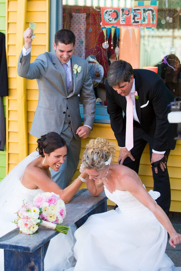Funny Wedding Photos - Arm Wrestling Brides and excited husbands  #funny #wedding #photography