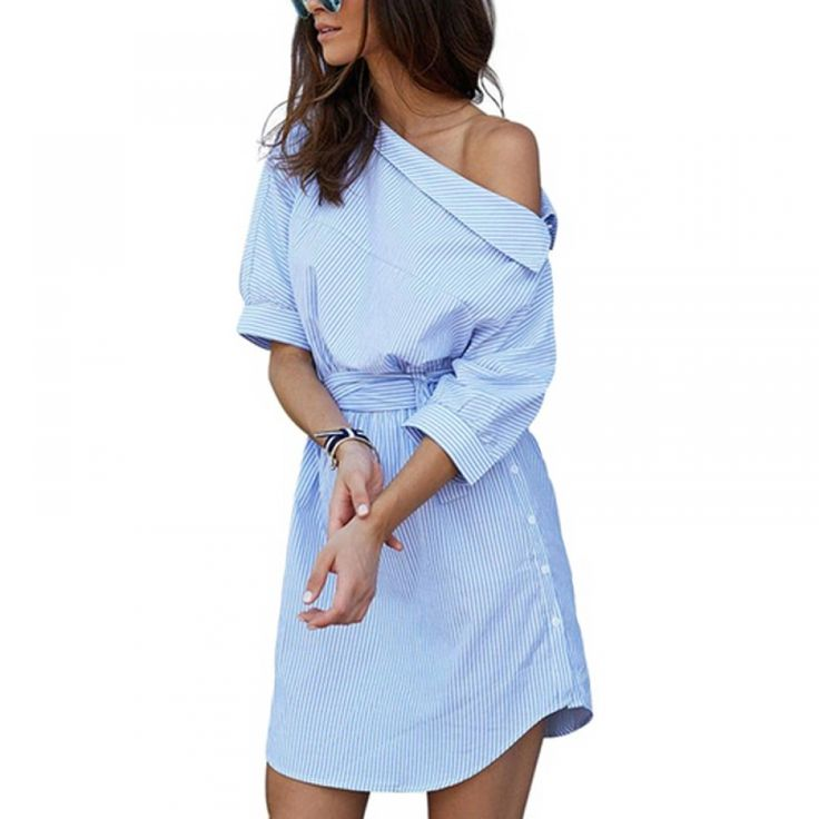 Women's Blue Striped Shirt Dress