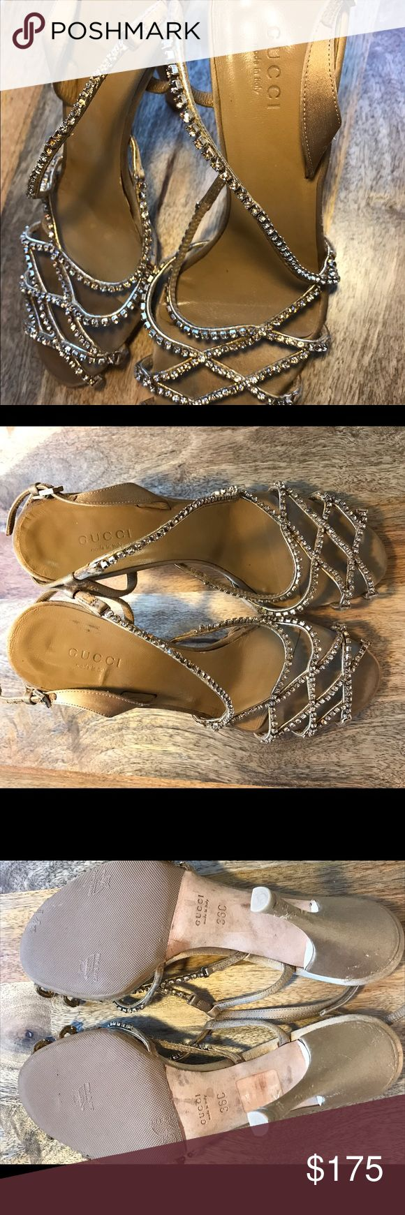 Gucci Rhinestone Satin Evening sandals / Heels Worn a few times for weddings and work events. Timeless and comfortable. Genuine Italian crafted Gucci gold (or tan shimmer) evening sandal with Swarovski rhinestone and satin sandals. Size 36C. Low price for missing rhinestones. Gucci Shoes Sandals