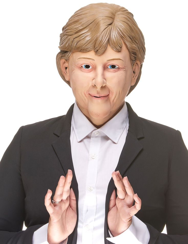 Máscara humorística látex Ángela adulto: Esta máscara integral es de látex y representa el rostro de Ángela, la canciller alemana.Presenta huecos a nivel de ojos, nariz, boca y orejas para mayor comodidad.Representa a...