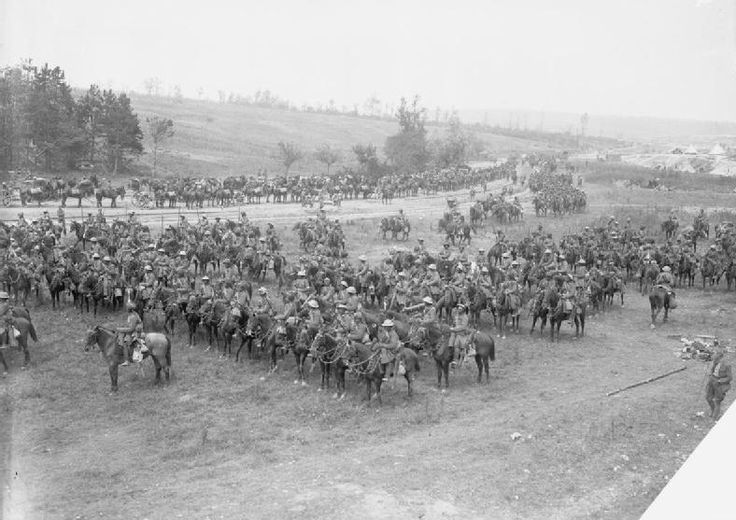 The 20th Deccan Horse drawn up in ranks during the Battle of Bazentin Ridge, 1916