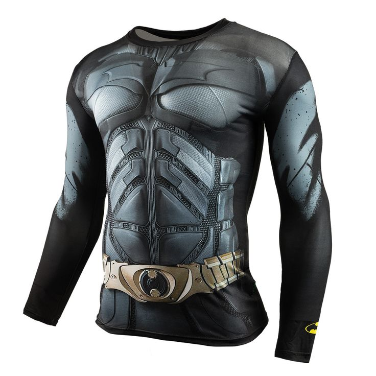 Men Crossfit Long Sleeve Compression Shirt 3D Anime Superhero Superman Captain America T Shirt Tights Fitness Men Tops