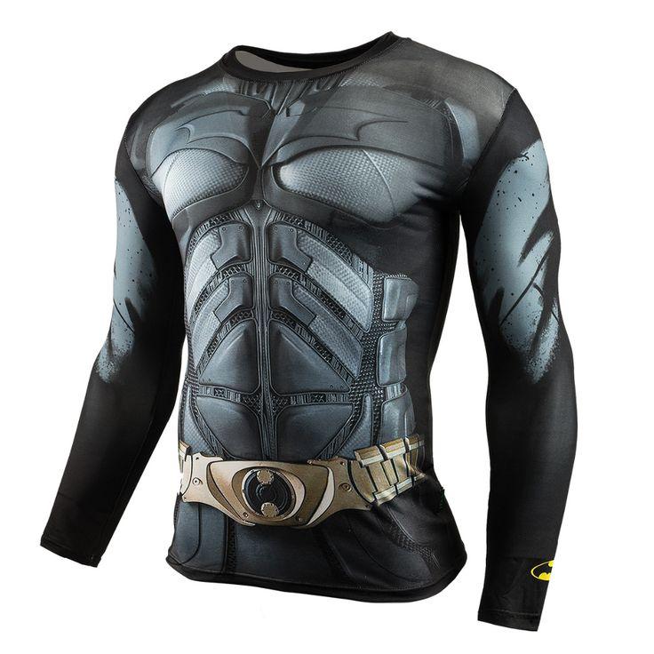 Men Crossfit Long Sleeve Compression Shirt 3D Anime Superhero Superman Captain America T Shirt Tights Fitness Men Tops