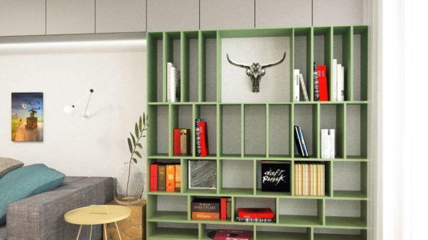 Návrh obývacej izby, knižnica - interiér Banšelova, Bratislava - Interiérový dizajn / Living room interior by Archilab