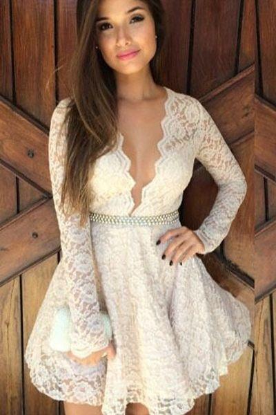 Simply Gorgeous V Neck White Lace Mini Dress