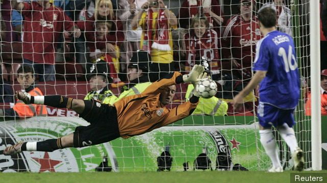 Pepe Reina saves Arjen Robben's penalty in the 2007 Champions League semi-final shoot-out against Chelsea