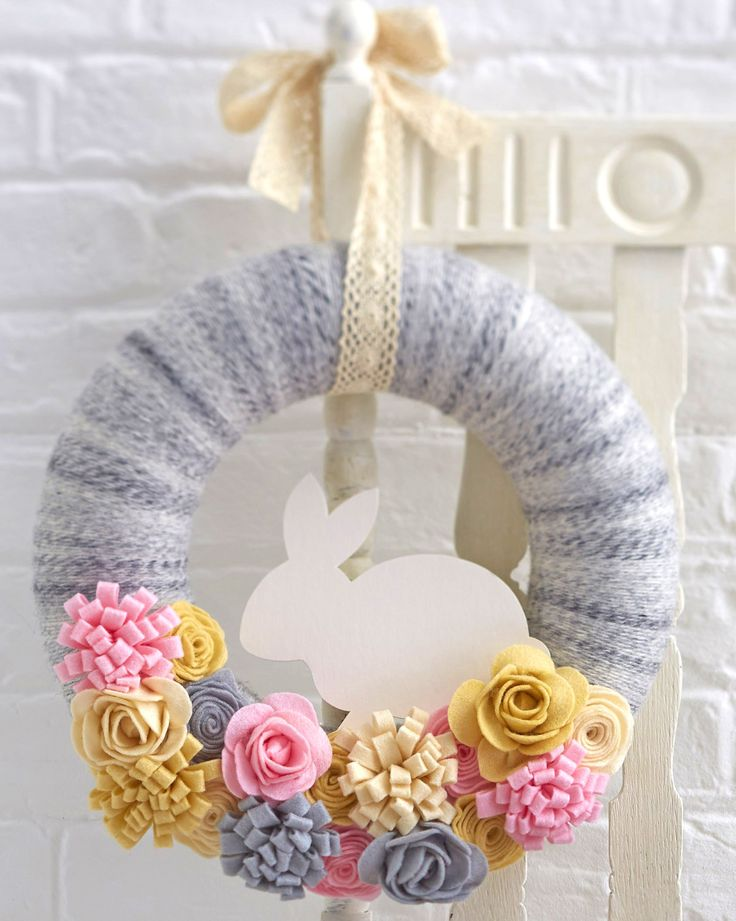 Source:blog.hobbycraft.co.uk 4.Felt Easter Bunny Wreath Okay, I may be slightly obsessed with this gorgeous wreath. I mean the colors, the yarn, the felt, the bunny, the flowers…I could go on and on about everything that makes this wreath so perfect. It's simply beautiful and I cannot wait to make one for my own door. It'sContinue Reading...