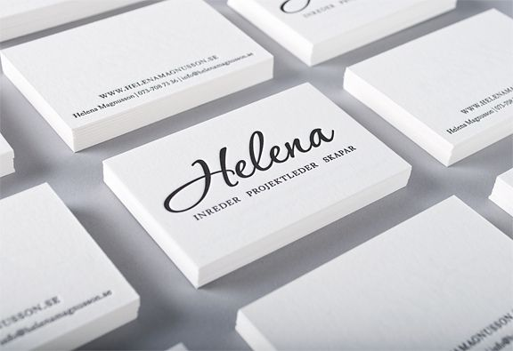 Letterpress business card printed for interior designer Helena Magnusson. Pure cotton 640 gsm paper, designed by Appearance, printed by Elegante Press