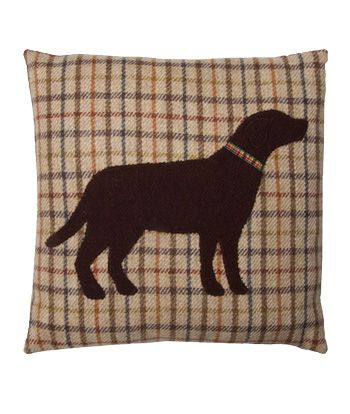 Brown Labrador Harris Tweed Cushion