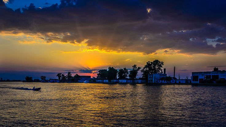 Sunset on Sulina channel, Danube Delta.