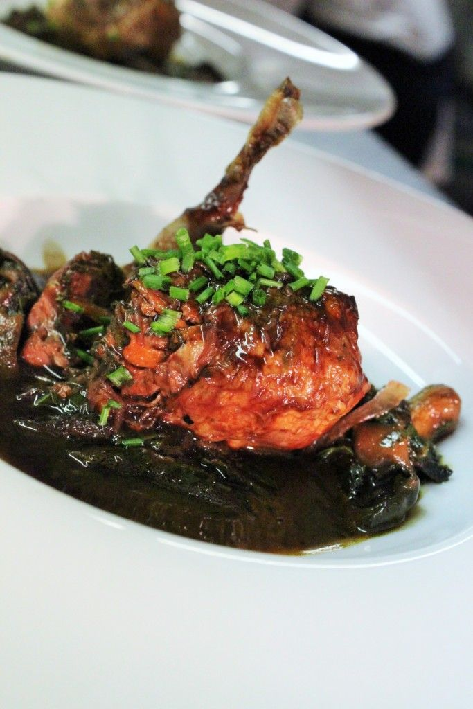 Deboned and stuffed Irish quail, braised in red wine, onions and mushrooms. Super cold-weather dish!