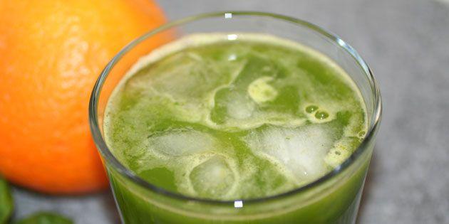 Juice med appelsin og spinat