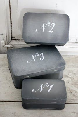 Blackboard paint on tin boxes