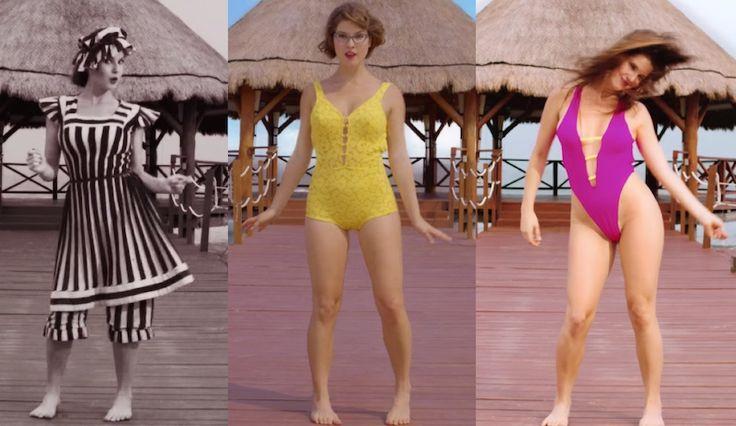 """Amanda Cerny demonstrates 125 years of swimwear in """"The Evolution of the Bikini."""""""
