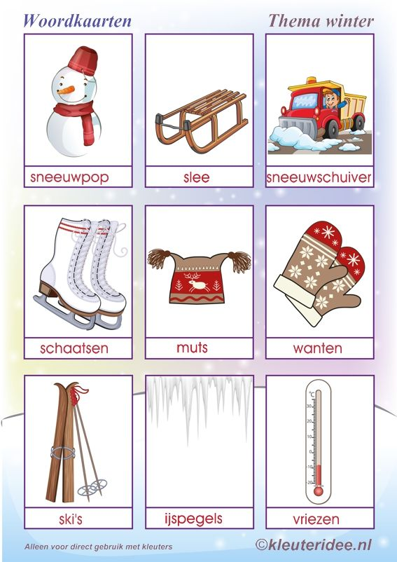 Woordkaarten thema winter , juf Petra van kleuteridee, Winter words free printable.