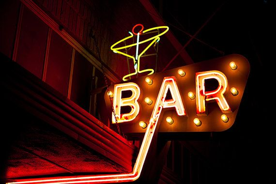 SALE - Neon Bar Sign with Cocktail Glass Print by RetroRoadsidePhoto