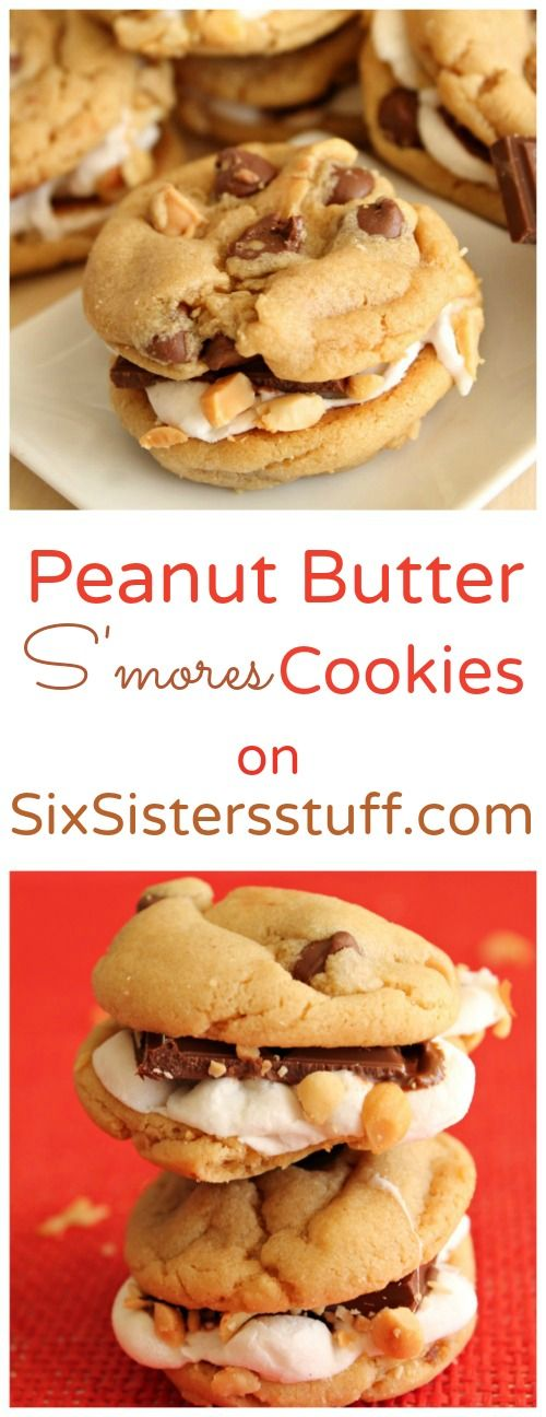 Peanut Butter S'mores Cookies on Sixsistersstuff.com