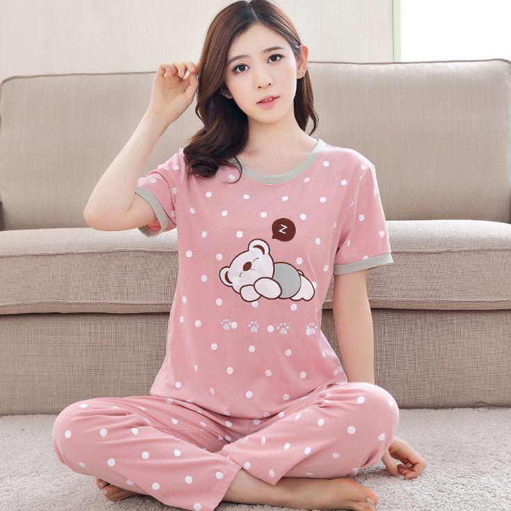 Ladies Thin Pajamas Set Cotton Short Sleeved Pyjamas Summer Women Floral Print Sleepwear Homewear Cartoon Nightgown Plus Size #Affiliate