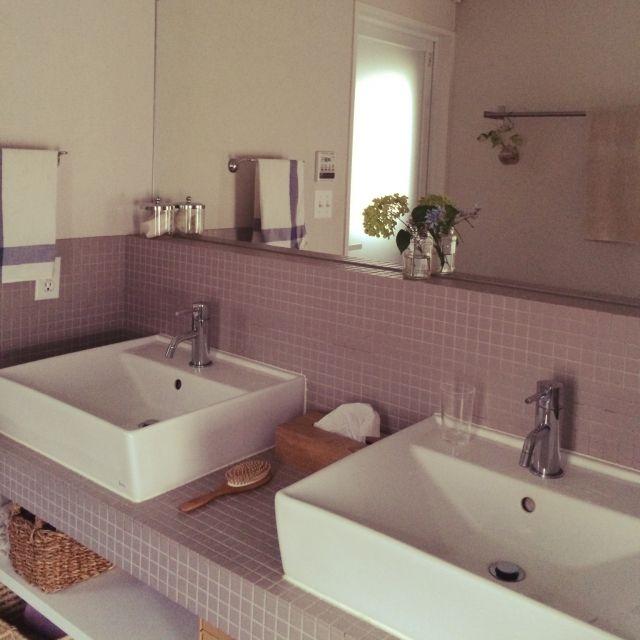 naonaoさんの、バス/トイレ,IKEA,植物,洗面所,タイル,ニトリ,リノベーション,アナベル,のお部屋写真
