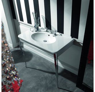 WS Bath Collections Retro 1049 Wall Mounted Bathroom Sink With Legs X