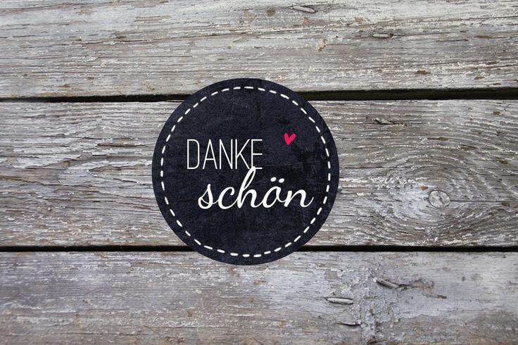 Danke Schön ♥ Tafel 24 Aufkleber 4cm rund Sticker von einfachSchön auf DaWanda.com