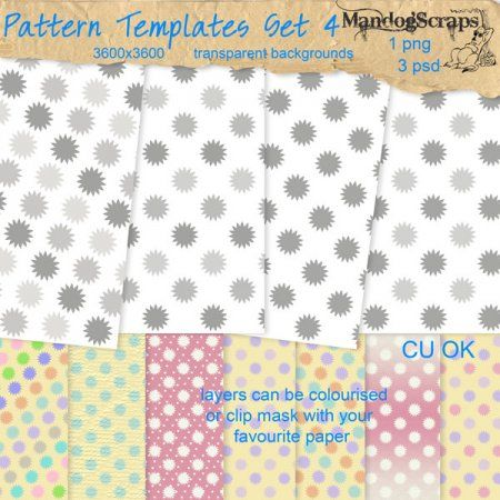 There are 4 patterned paper templates - 3 in PSD format - patterns on seperate layers to give you the option to colourise each layer individ...