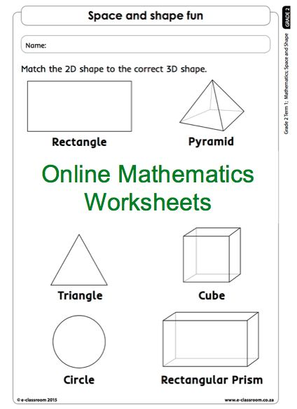 Grade 2 Online Mathematics Worksheets Shapes. For more, visit www.e-classroom.co.za!