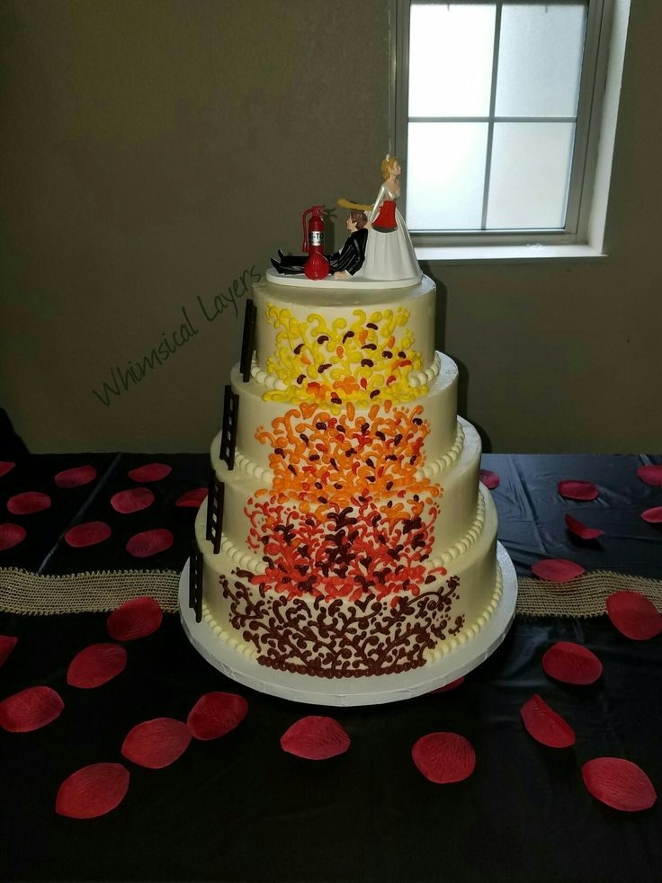 Wedding cake for 2 firefighters
