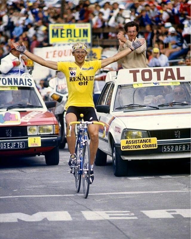 "179 Likes, 2 Comments - PedalsCam® (@pedalscam) on Instagram: ""Stage 17 back in 1984s Tour de France. Le Professeur crosses the finish line keeping the yellow…"""