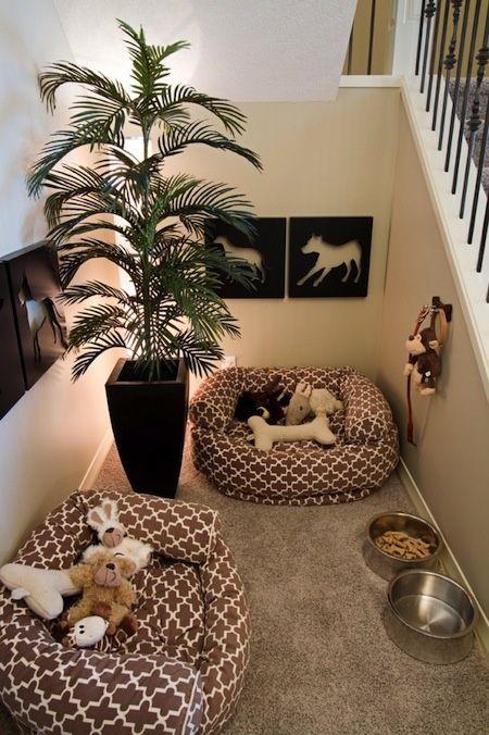 Espaço aconchegante com cama para cachorro